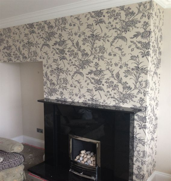 Wallpapering a living room feature wall in sky edge m for Living room wallpaper feature wall