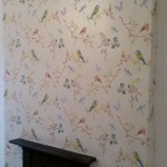 Post wallpapered wall.