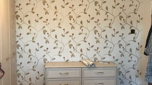 Feature wall after applying wallpaper