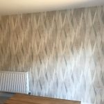 Living room feature wall after completion.